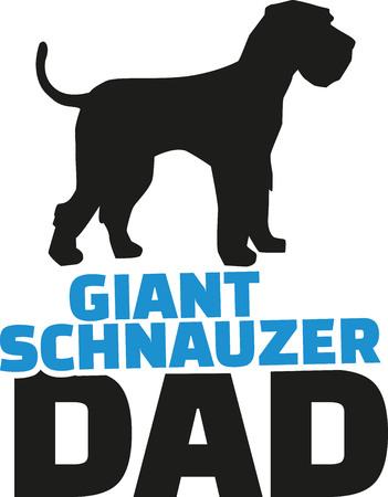 schnauzer: Giant Schnauzer dad with dog silhouette Illustration
