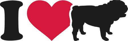 Ich liebe englische Bulldogge Symbol