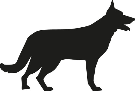 German Shepherd silhouette Stock Illustratie