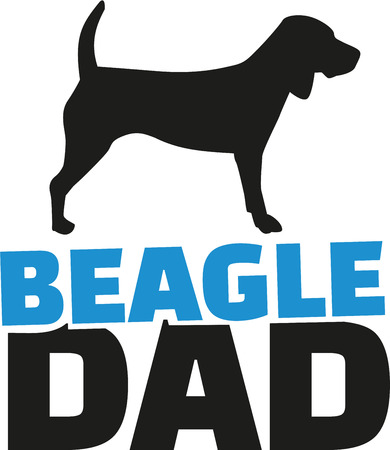 beagle: Beagle dad with dog silhouette Illustration