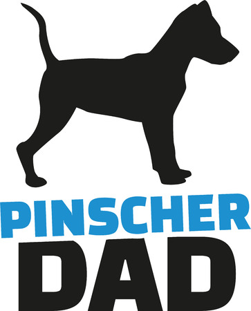 dad: Pinscher dad with dog silhouette Illustration
