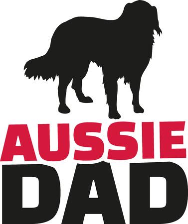 australian shepherd: Australian Shepherd dad with dog silhouette