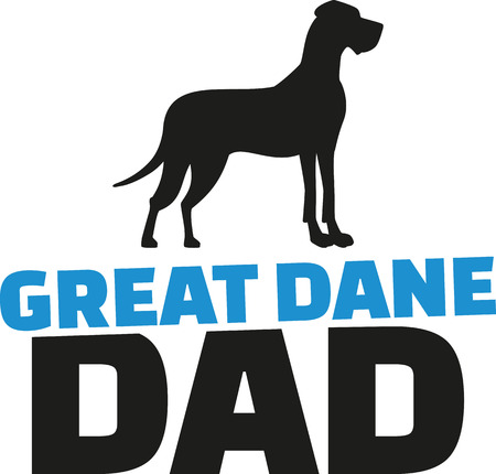 great: Great dane dad with dog silhouette