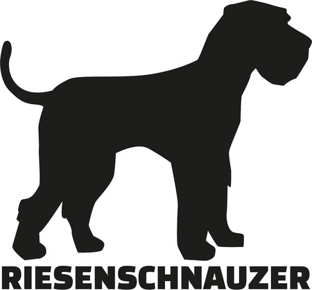 breed: Giant Schnauzer with german breed name Illustration