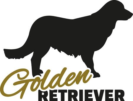 golden: Golden retriever with word Illustration