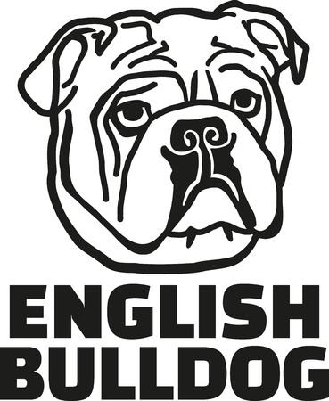 Bulldog Inglés con el nombre de la raza Ilustración de vector