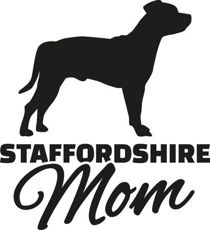 staffordshire: Staffordshire Terrier Mom Illustration