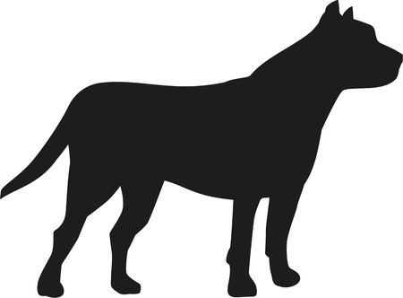 pit: Pit bull dog silhouette Illustration
