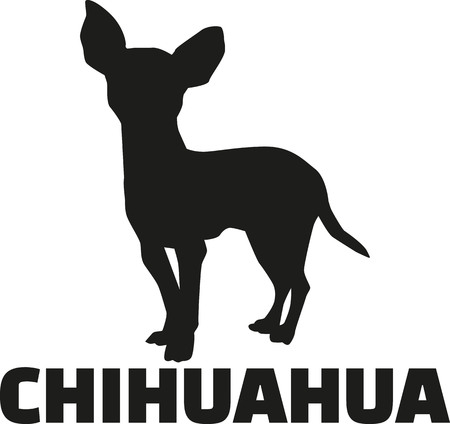 Chihuahua silhouette with breed name Ilustrace