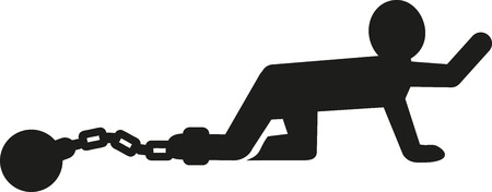 shackle: Man pictogram with shackle Illustration