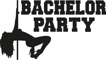 stag party: Bachelor party with poledancing girl