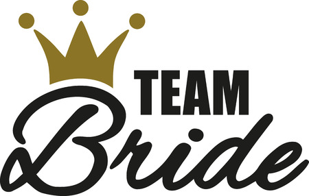 Team Bride with golden crown 向量圖像
