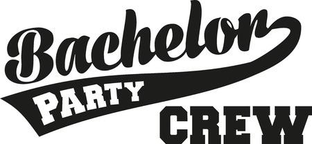 Bachelor Party Crew mit Retro-Schrift