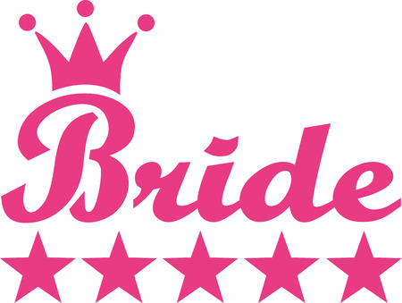 wedding dress silhouette: Bride with crown and five stars Illustration