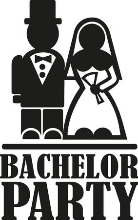 despedida de soltero con pares de la boda Ilustración de vector