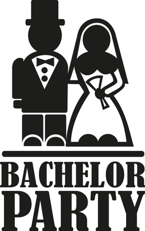Bachelor party with wedding couple