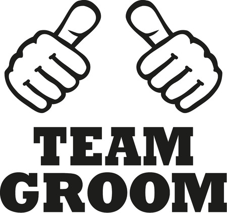 stag party: Team groom with two thumbs