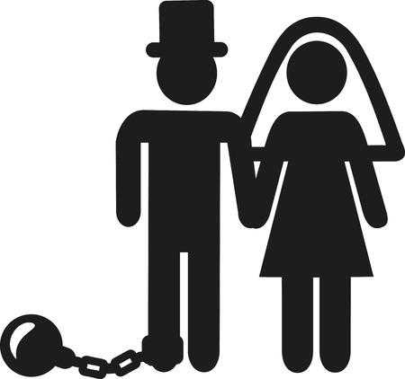 Mariage Couple pictogramme homme avec manille et boule de fer