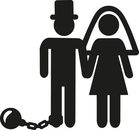 Wedding Couple pictogram man with shackle and iron ball Çizim