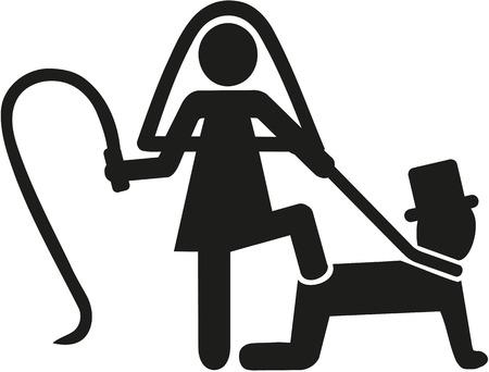 bride silhouette: Wedding couple pictogram bride whips groom