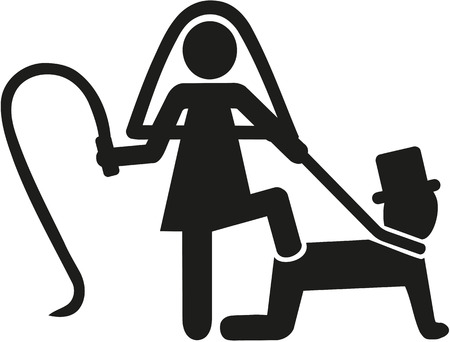 Wedding couple pictogram bride whips groom