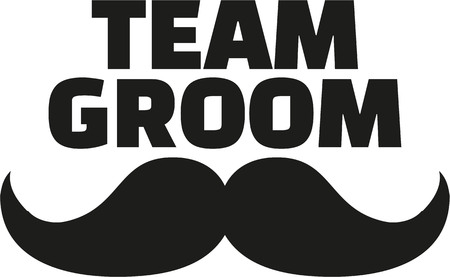 Team Groom with mustache 矢量图像