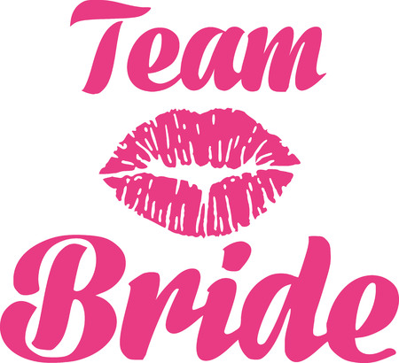 bride and groom illustration: Team bride with kiss
