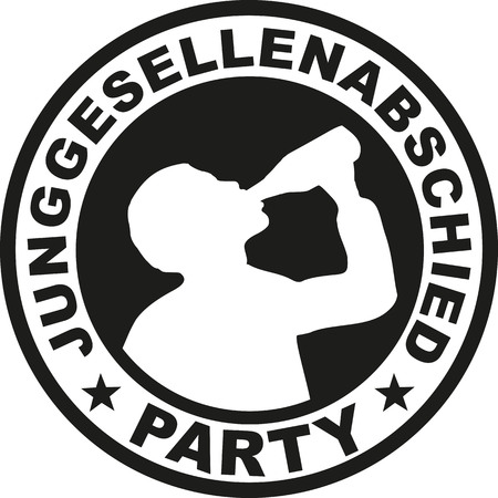 stag party: Bachelor party emblem with drinking man - german