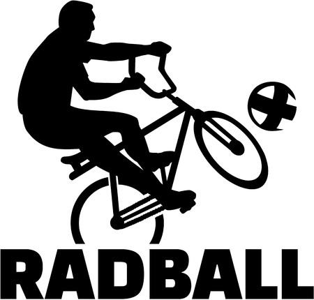 teamsport: Cycle ball player on bike with radball