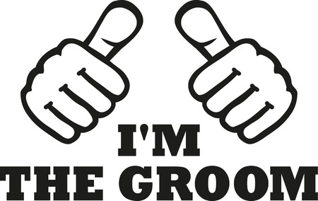 stag party: Im the groom with two thumbs Illustration