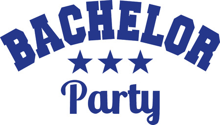 Bachelor party with college font