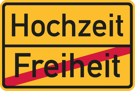 stag party: Place name sign from freedom to wedding - german Illustration