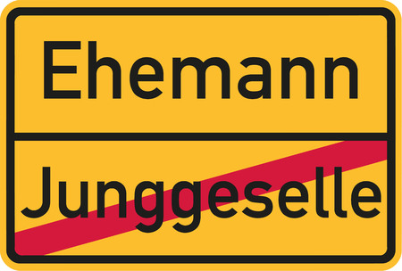 stag party: Place name sign from bachelor to husband - german Illustration