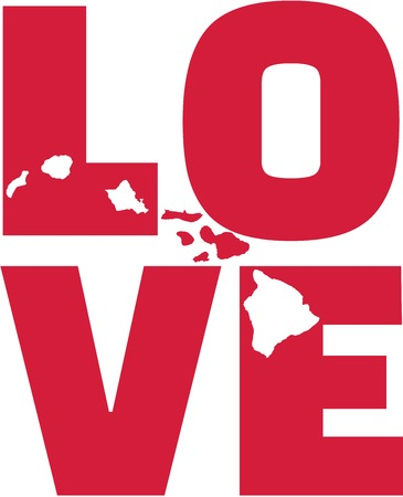 surfen: Hawaii love with map