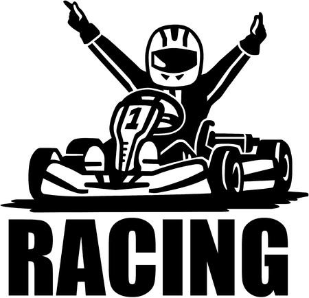 Racing winnaar - kart bestuurder Stock Illustratie