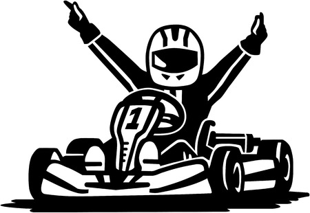 car driver: Kart racing winner Illustration