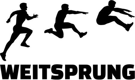 salto de longitud: secuencia de salto de longitud con la palabra alemana