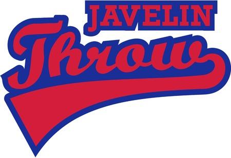 lanzamiento de jabalina: Lanzamiento de jabalina palabra retro Vectores