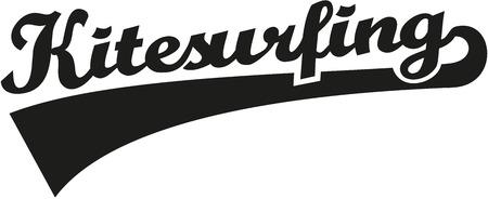 Kitesurfing word retro Vektorové ilustrace