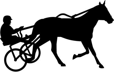 繋駕速歩競走のシルエット  イラスト・ベクター素材