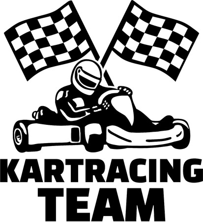 Kartracing team met doel vlaggen
