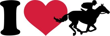Ik hou van paardenrace silhouet