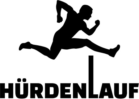 sprinting: Hurdling silhouette with german word Illustration