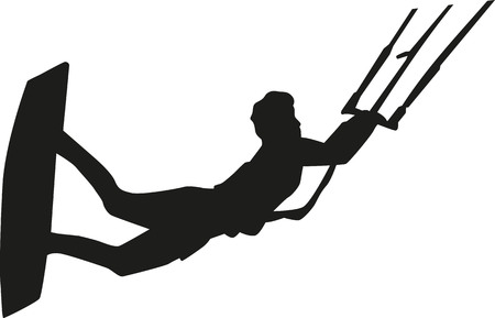 kite surf: Kitesurfer flying silhouette Illustration