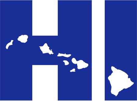 surfen: Hawaii state abbreviations HI with map