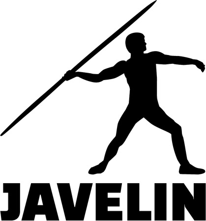 thrower: Javelin thrower with word