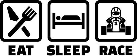 수면 카트 경주를 먹는다.