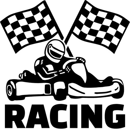 Goal flags and kart racing Illustration