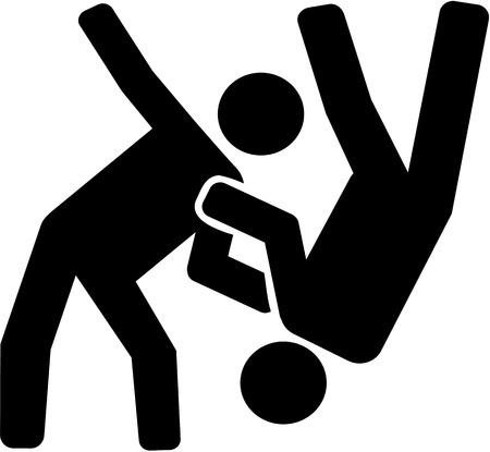 judo: pictograma de combate de judo Vectores