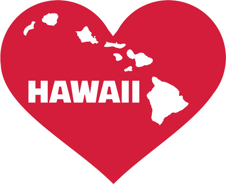 surfen: Map of hawaii in a heart Illustration